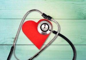 Heart-shaped cutout and stethoscope